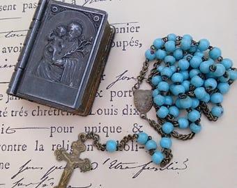 French antique catholic  St Josephe box blue glass beads rosary miniature  box reliquary antique book shape Jesue Father sacred heard medal