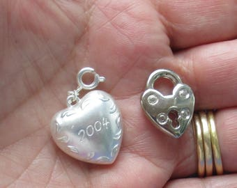 Heart Lock Shaped Charm Pendant Plus Heart Zipper Charm Marked 2004