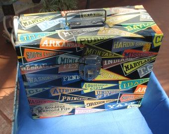 Vintage Metal File Box College Pennants TLC
