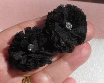Retro Flower Shaped  Black Fabric Clear Rhinestone Pierced Earrings