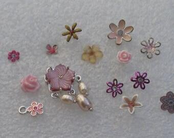 Retro Colorful  Flower Single Odd Earrings One Matching Pair  Flower Pendants No Backs