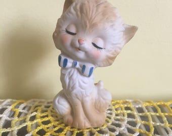 Vintage Lefton Mini Cat With Bow Figurine