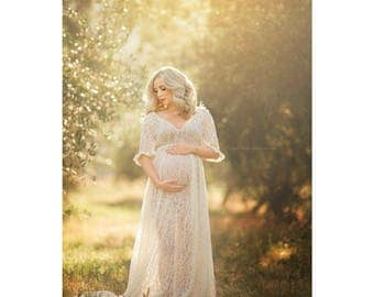 KELLEY Maternity Dress for Photo Shoot/Maternity Gown/ LACE/Modeling/ Lace Skirt/ 3/4 sleeves/Modeling/ Bride/Wedding/ Senior Photo Shoot