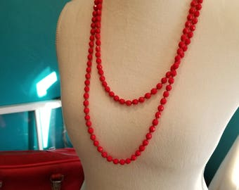 Bright Red Hand Strung Crystal Beaded Necklace