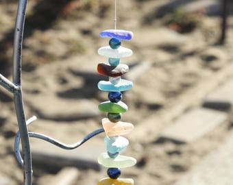 100% Genuine Ocean Tumbled Sea Glass Assorted Hanging from Abloani Yellow,  Red, Green, White, Sea Foam, Blue Hanging Mobile
