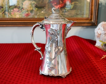 Antique Webster Silver Plate Chocolate Pot - Victorian Silver Plate Coffee Pot