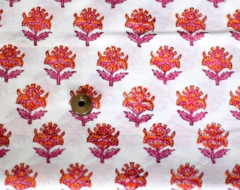 Small Floral block print fabric, Indian fabric, Pink flower, orange flower, quilting fabric, dress fabric,  by half yard