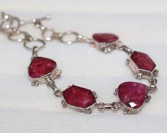 Natural Ruby and Silver Bracelet