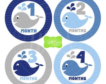 Whale Monthly Stickers - Baby Month Stickers - Baby Growth Stickers - Boy Milestone Stickers - Blue and Grey Baby Stickers - 057