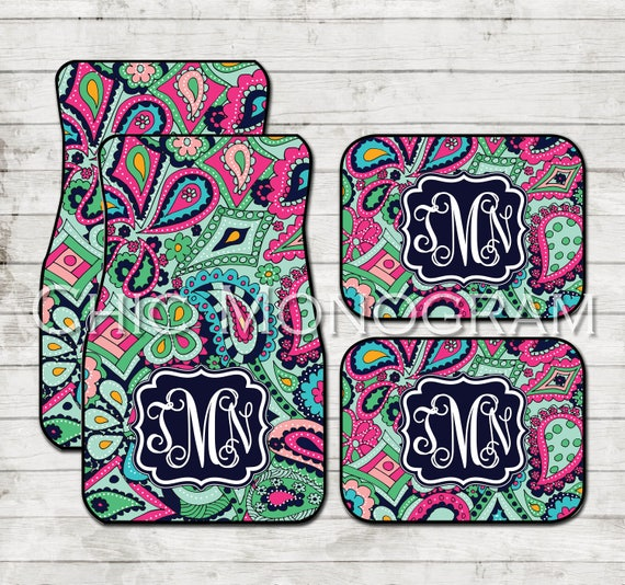 Christmas Gifts for Girls Monogram Car Floor Mats Lilly Inspired Personalized Car Mats Custom Cute Car Accessories Crown Jewel Paisley