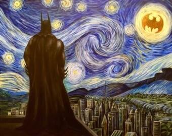 "Starry Knight. Batman vangogh mashup 16""x20 original acrylic painting on canvas"