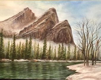 "16"" x 40"" x 1 1/2"" original acrylic painting. Yosemite Valley. in Yosemite national park"