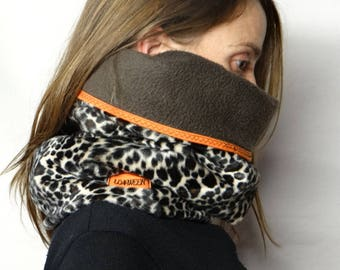 Reversible fleece and faux Leopard big cowl or snood.