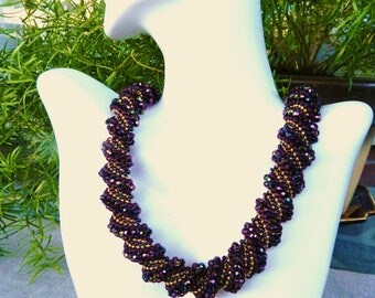 Flat Cellini Wavy Spiral Necklace Purple Gold Mauve Collar Necklace Amethyst Crystal Seed Beads Necklace hand Beadwoven Jewelry