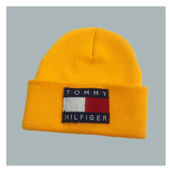 Tommy Hilfiger Logo Beanie Neon Orange Winter Hat - Unisex Tommy Logo Toboggan Beanie - Upcycled VTG Patched Hat Grunge 90's Accessory