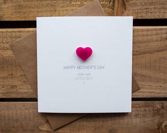 Happy Mothers Day from your Little Boy Card with magnetic Love Heart Keepsake // Mother's Day // From Son // Magnet Card