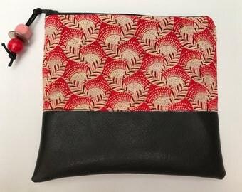 Handmade batik fabric zip pouch