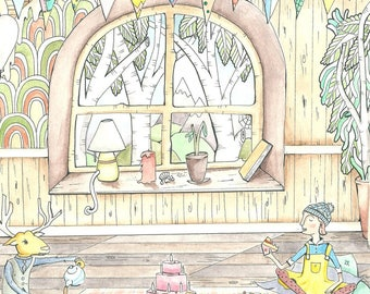 Tree house art print, Treehouse, treehouse art print, gift for her, home sweet home, . A3 Print