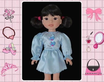 14 / 14.5 inch doll clothes / blue party dress / Mine to Love 14 / Wellie Wishers / American Girl / Melissa and Doug
