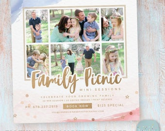 4th July Family Picnic - Photography Mini Session Template - Photoshop - IT006 - Instant Download