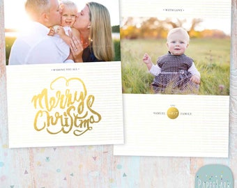 Gold Holiday Card Template - Photoshop template - AC039 - INSTANT DOWNLOAD