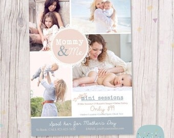 ON SALE Mother's Day Template Mini Session - Photoshop Template IM012 - Instant Download