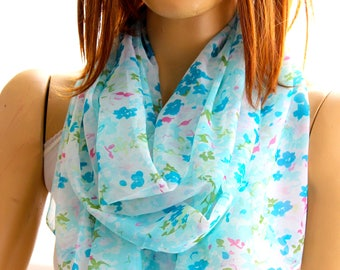 green floral scarf - floral shawl - summer scarves - wrap scarf - pareos - scarves - shawl - gift ideas - woman scarves