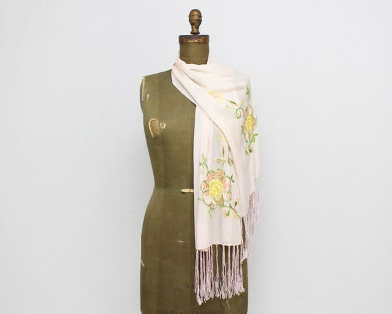 Vintage 1930s Floral Embroidered Silk Scarf