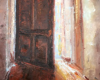 Light behind a door, oil Painting One of a kind Hand painted Artwork Impressionism Signed with Certificate of Authenticity