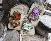 """Broche """"Cruelty free / collection vegan activiste """" en bois - découpée et peinte à la main"""
