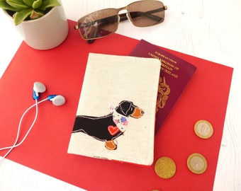 Dachshund passport cover - Doxie mum gift - embroidered fabric passport holder - gift for her - Sausage Dogs - Travel Accessories