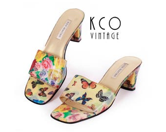 90s Butterfly Sandals Holographic Sandals Two Tone Floral Sandals Club Kid 90s Raver Mules 90s Shoes Women's Size US 8.5 / UK 6.5 / EUR 39