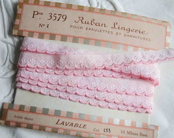 Antique French pink cotton embroidered ribbon, pink broderie anglaise, French vintage haberdashery