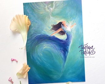 A4 Artprint 'Freedom' (Ocean, Sea) Spiritual and Intuitive painting of Freedom