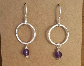 Hammered loop drop earrings with faceted amethyst bead hook earrings