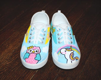 Hand Painted Unicorn & Owl Sneakers