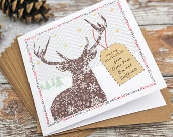 Personalised Reindeer Christmas Card