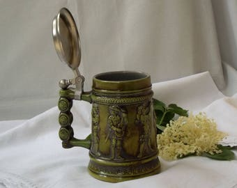 Collectable Ceramic German Beer Stein Mug With Pewter Lid