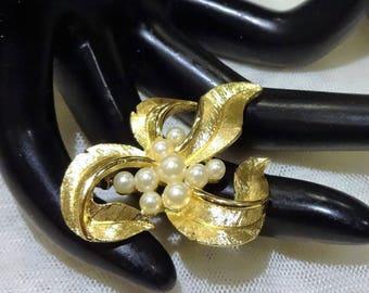 Vintage Crown Trifari Faux Pearl Floral Brooch