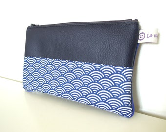 "Pouch "" Blue faux leather, japanese blue waves and  blue piping """
