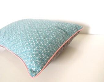 "Cushion cover "" Small graphic blue flowers, grey back and pink pastel piping  """
