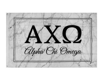 Alpha Chi Omega Light Marble Box Letter Sorority Flag 3' x 5'