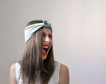headband à nouer en double gaze vert d'eau - La mallette des minettes