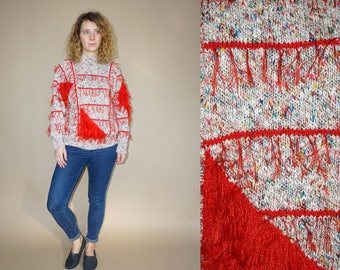 80's vintage women's hand knitted colorful-red furry pullover