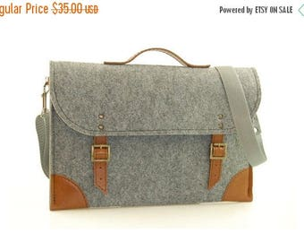 SALE Felt Laptop bag 15 inch with pocket, sleeve, Macbook Pro 15 inch, Laptop case, grey felt and brown leather