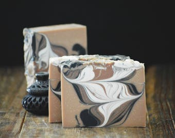 Tibetan Amber Soap | Artisan Cold Process Soap Bar, Handmade Soap Gift, Oriental Incense Scented Soap, Activated Bamboo Charcoal Soap, Cocoa