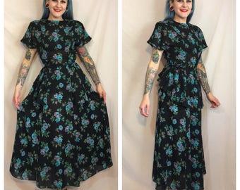 Vintage 1990's Blue Rose Print Dress