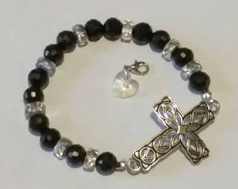 Religious Cross Christian bling Cross & heart Bracelet  BR40