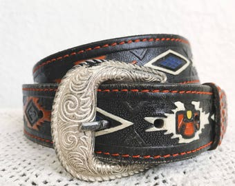 1980s Native American Eagle Genuine Leather Belt // Vintage Western Handtooled Leather Belt // Size 36 Western Leather Belt