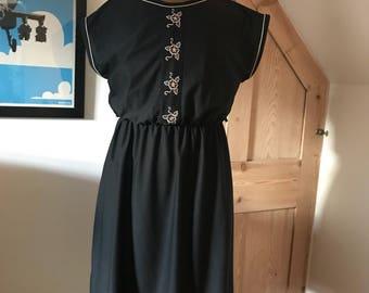 Vintage Black 1970s Dress St Michael 12